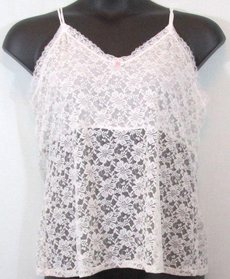 White Lace Plus Size Cami Top, Size 2x by Secret Treasures #SecretTeasures #TankCami