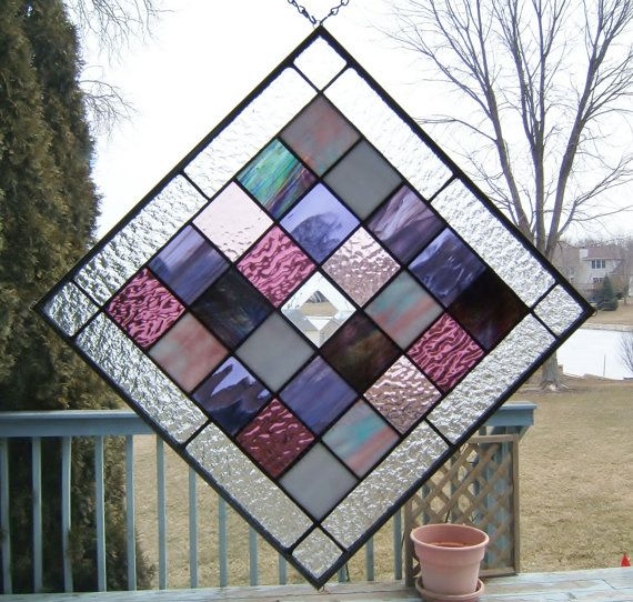 jordan    glass Purple SGHovel geometric window collector sole squared stained air panel by