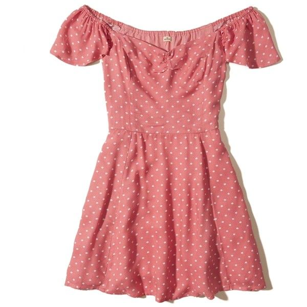 Hollister On Or Off The Shoulder Skater Dress (1.710 RUB) ❤ liked on Polyvore featuring dresses, vestidos, pink star, ruffle sleeve dress, skater skirt dress, off shoulder dress, red flared skirt and skater dress