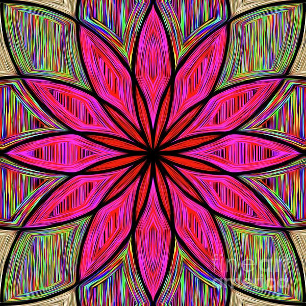 A bright and happy floral mandala on pretty rainbow colors. #Flower on #Rainbow #Mandala by #Kaye_Menner #Photography Quality Prints Cards Products with a money-back guarantee at: https://kaye-menner.pixels.com/featured/flower-on-rainbow-mandala-by-kaye-menner-kaye-menner.html
