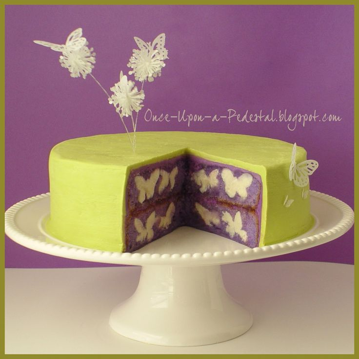 Over the top! Love this lime green and purple color combo, but wait it has BUTTERFLIES baked IN the cake! Wow!