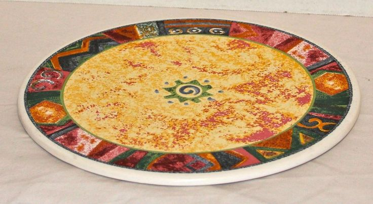 Furio Round Ceramic Mesa Trivet Southwestern Design Ceramic Multi Color Footed