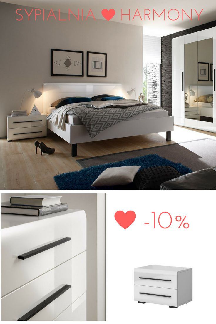 Beautiful bedroom in super of promotion! Catch the chance! Piękna sypialnia w super promocji. Łap okazję! #bed #bedroom #sypialnia #mebledosypialni #helvetia #mirjan24 #design #whitefuniture