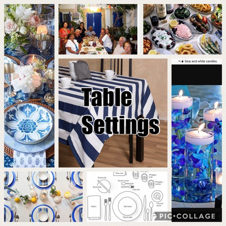 The Greece table setting is usually set with the colours of Greece. Which are blue and white. They use crystal palates and bowls as it controls with blue and white. Also have candles and small arrangements.