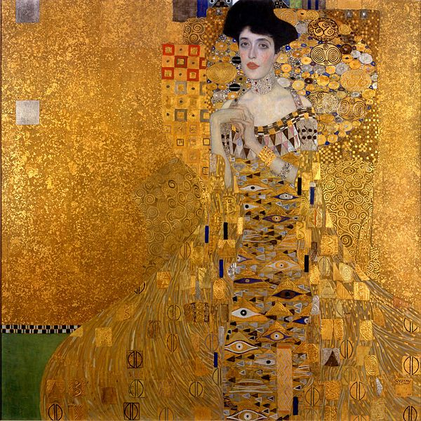 Gustav Klimt: Portrait of Adele Bloch-Bauer I, 1907. Oil and gold on canvas.  It took three years to complete the portrait, which was destined to have a complicated history. Purchased by Ronald Lauder for the Neue Galerie, New York (where it has been on d