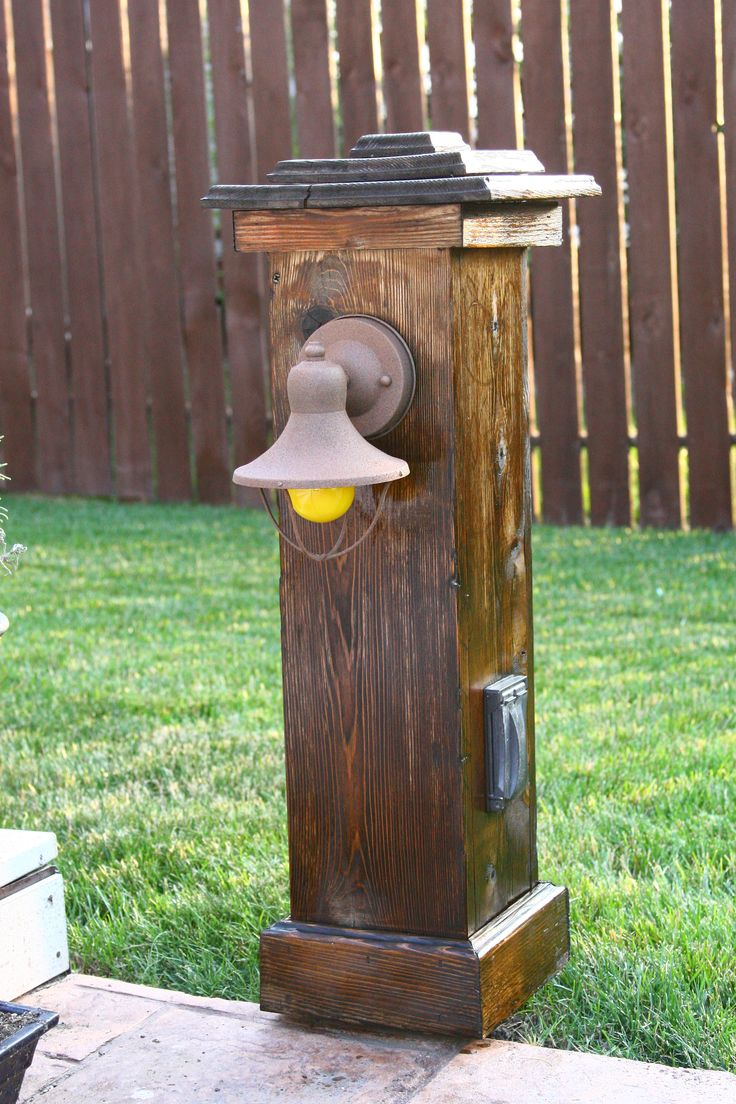 Wood outdoor lamp post - Cedar Light Post With Outlet