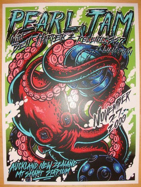2009 Pearl Jam - Auckland Silkscreen Concert Poster by Maxx242