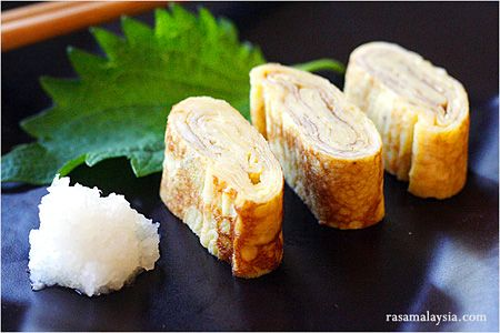 Tamagoyaki is a slightly sweet, delicious, and delicate omelet that is often packed into Japanese bento boxes and also served at sushi bars as tamago nigiri