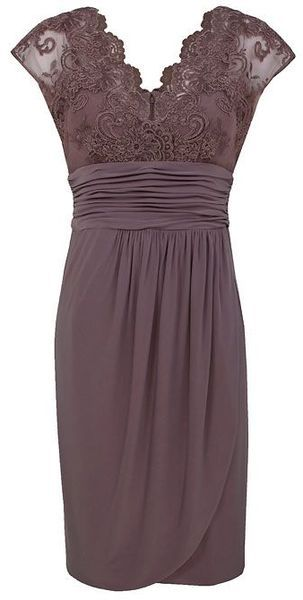 Alexon Light Brown Lace Top Dress in Purple (ivory) - Lyst