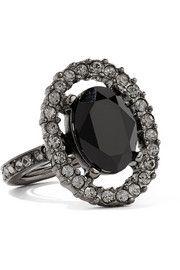 Gunmetal-tone crystal ring