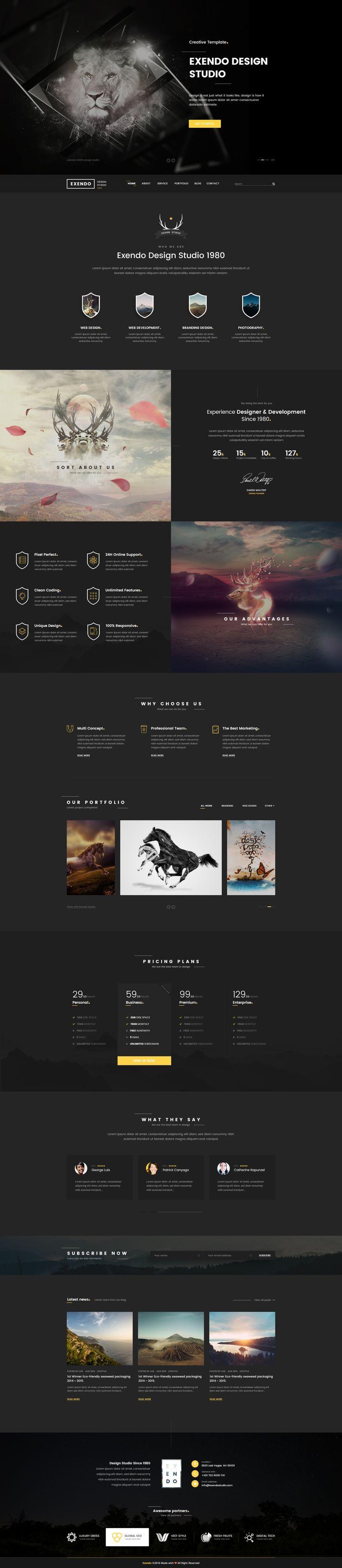 Exendo - Creative PSD Template #web design #template #clean • Download ➝ https://themeforest.net/item/exendo-creative-psd-template/16993581?ref=pxcr