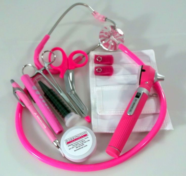 Breast Cancer Awareness Nurse Kit with W/ Mini Otoscope, Hot Pink Stethoscope #BVMedical