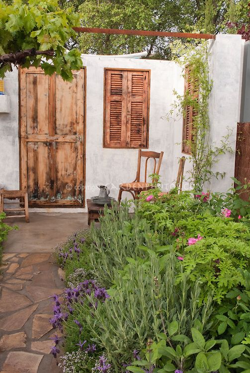 Mediterranean Courtyard style garden Natural stone paths, small stone water basin.olive tree, pomegranate shrubs, fig, jasmine, roses, lavender, scented thymes