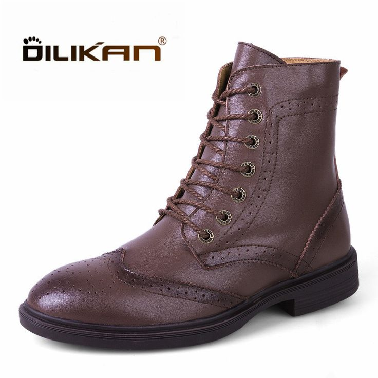 DILIKAN New 35-48 Large Size Genuine Leather Boots Men Brogue Pattern Breathable Outdoor Walking Boots Superstar Lace up Boots