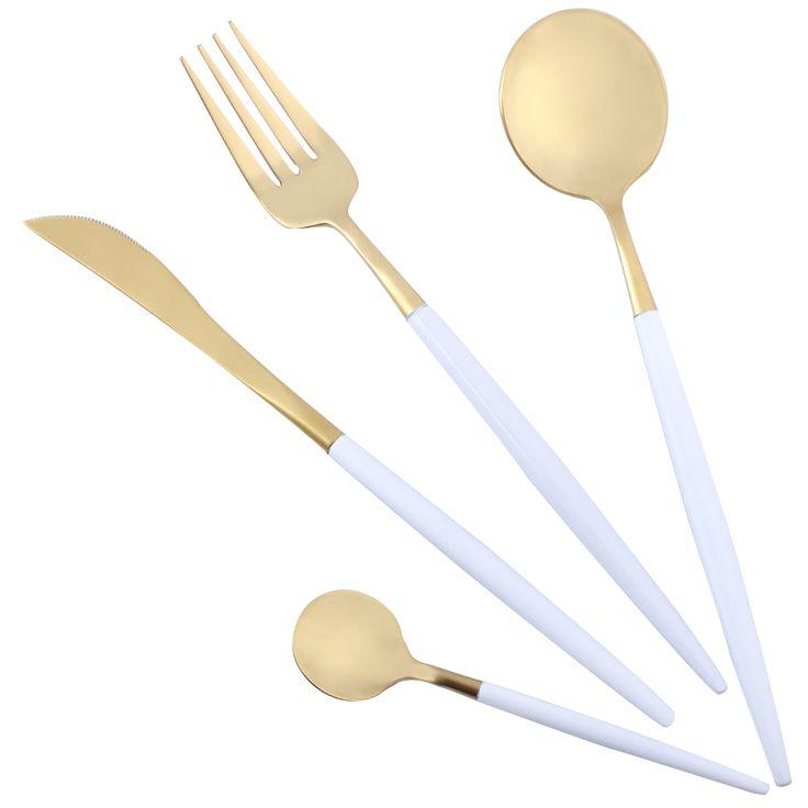 4 Unids/lote Haldle Blanco Set de Cubiertos de Oro 18/10 Juego de Cubiertos de Acero Inoxidable Tenedor Cuchillo Cucharas Sliverware Set Home Vajilla Conjunto