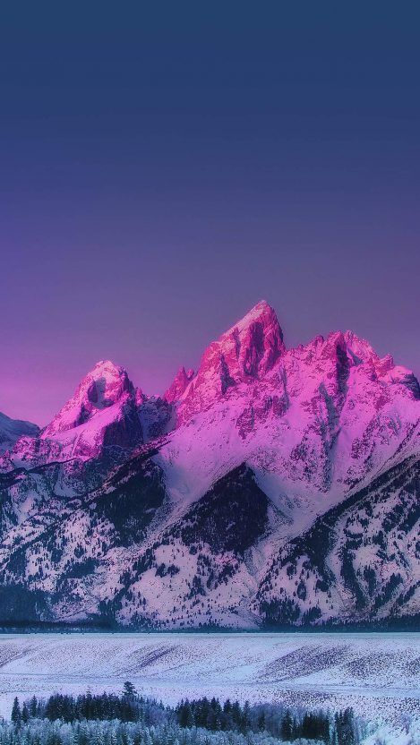 Pink Mountain Blue Sunset Nature Iphone Wallpaper Iphone