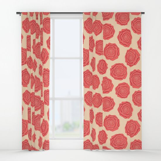 Roses Pattern Window Curtains #roses #flowers #art #illustration #botanical #nature #red #blossom #floral #faerieshop #pink #pattern #beige #delicate #cute #pastel #trendy #girly #girlish #romantic #vintage #cool #curtain #society6 #home #decor #decoration