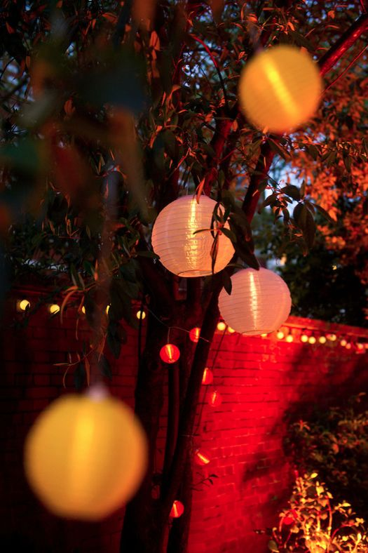 Solar powered lights turn your garden party from day to night without tangles of wires and extension leads