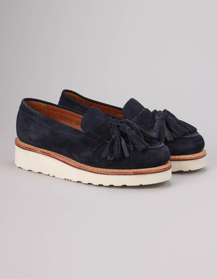 Grenson Navy Blue Clara Navy Suede Loafer | Accent Clothing