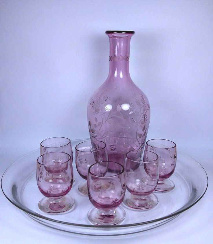 Vintage Decanter and Set of Six Liqueur Glasses | Pottery & Glass, Glass, Glassware | eBay!
