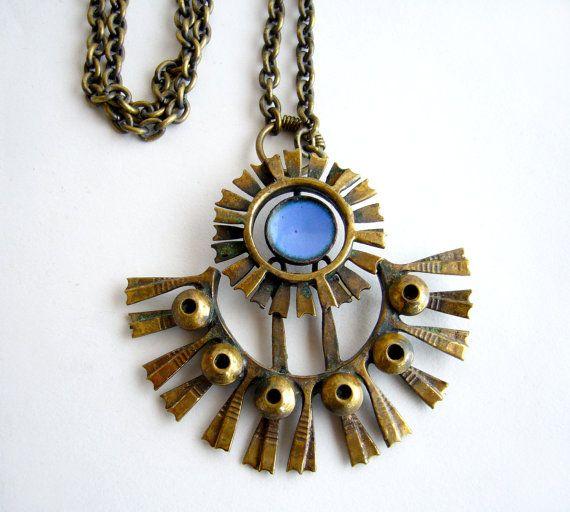Pentti Sarpaneva for Kalevala Koru, Vintage modernist bronze and enamel necklace, 1960's. #Finland | 20thObsession