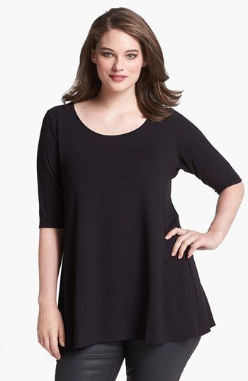 Eileen Fisher Scoop Neck Jersey Tunic (Plus Size) | Nordstrom (Perfect for fall and skirts and leggings and stuff!)