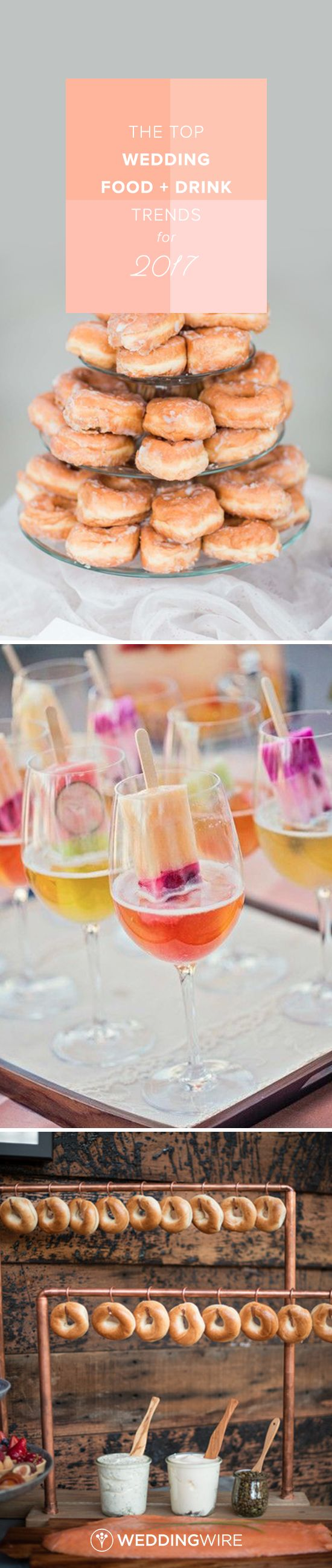The Top Wedding Food + Drink Trends for 2017 - From poptails to hanging food, see the top food and drink trends for weddings in 2017 on @weddingwire! {Erin Wilson Photography, Debbie Kennedy Events + Design, Carrots Catering and Events}