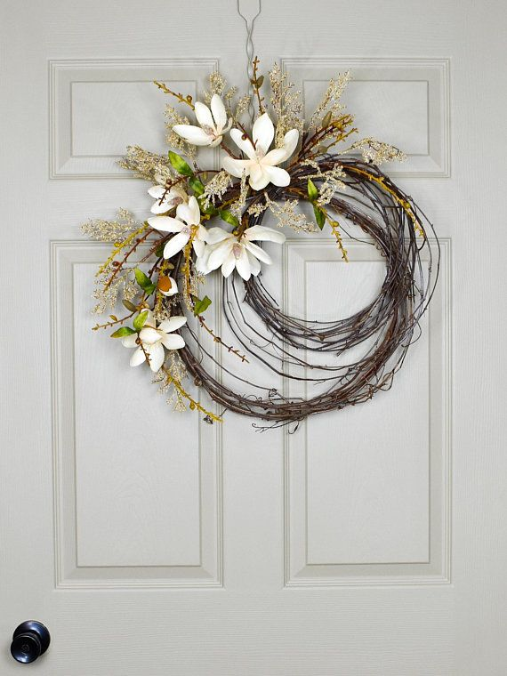 Hydrangea Wreath Easter Wreath Baby Girl Wreath Baby Shower Wreath Pastels Spring Front Door Wreath Magnolia Wreath Bridal Wreath