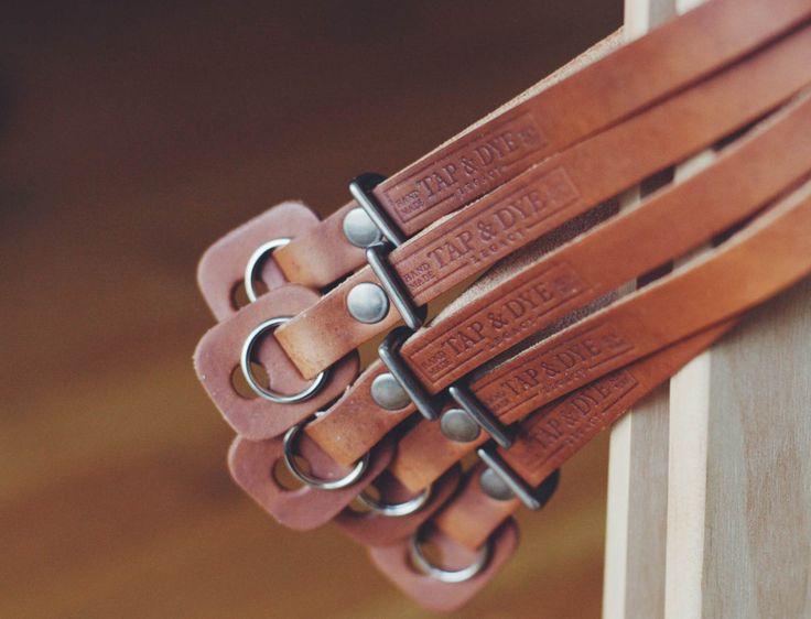 L E G A C Y leather camera wrist strap - Antique Tan, Dark Amber & Royal Navy Patina