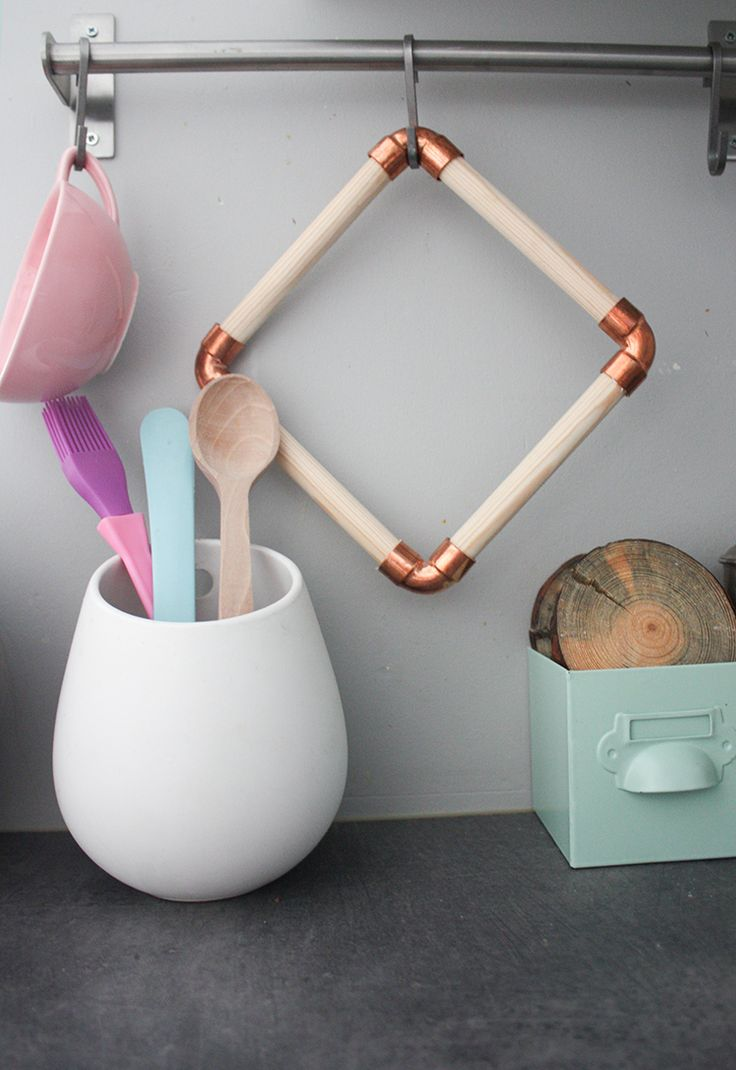 DIY-Anleitung: Topfuntersetzer aus Holz und Kupfer herstellen, stylische Küchenutensilien / DIY-tutorial: crafting pot coaster made of wood and copper, stylish kitchen utensils via DaWanda.com