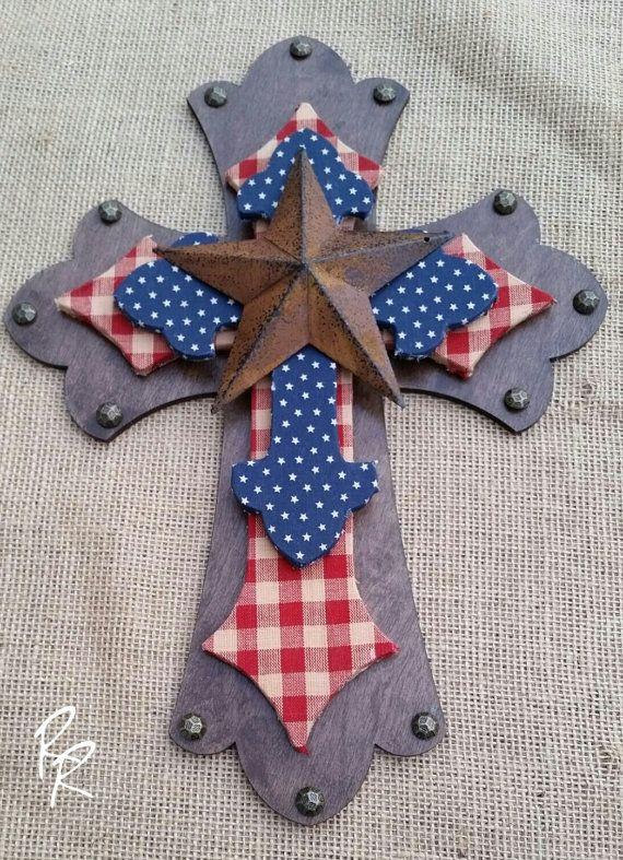 American wood layered cross, rustic Americana  This wood, layered cross is perfect for and rustic, Americana decor, to show your pride for