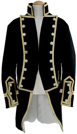 Captains Frock 1795 - 1812 Shown here is a Naval Captains Dress frock of over 3 years seniorty. Made from superfine wool with gold lace. A copy of the original in the National Maritime Museum.
