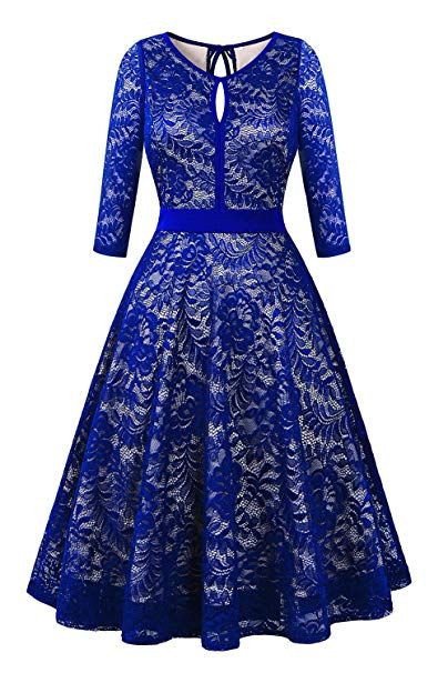 f0c0a149c86 BBX Lephsnt Lace Floral Cocktail Dress Women s Vintage Party Formal Swing  Dress at Amazon Women s Clothing store