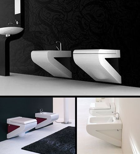 Nouveau white wall mounted toilet 33j bathroon and for Carrelage mural toilettes