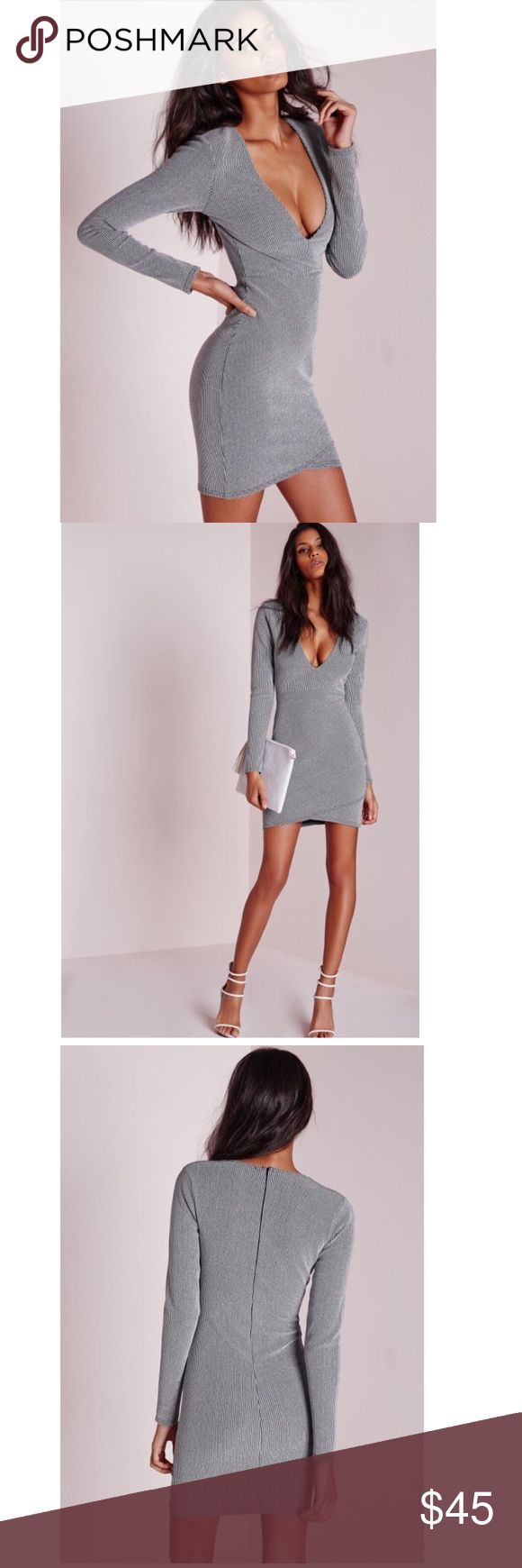 NWT Missguided bodycon dress BRAND NEW, never worn, with tags, silver bodycon dress Missguided Dresses Midi