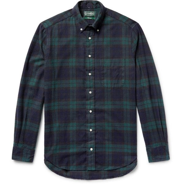 Gitman Vintage Button-Down Collar Black Watch Checked Brushed-Cotton... ($200) ❤ liked on Polyvore featuring men's fashion, men's clothing, men's shirts, men's casual shirts, mens flannel shirts, mens button down collar dress shirts, mens checkered shirts and mens brushed cotton shirts