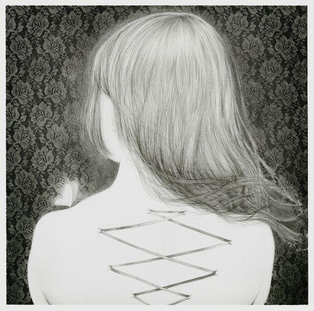 岩渕華林 Karin IWABUCHI Corset Piercing I  Lithography x 3 620 x 620 mm