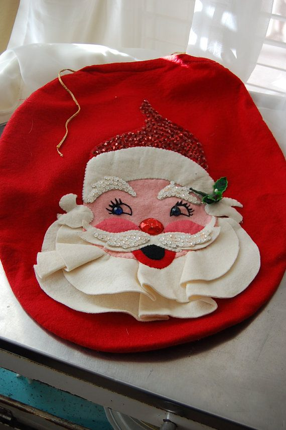 Cute Little Vintage Santa Themed Toilet Seat Cover Clearly Handmade Super 13 1 2 X 16 Gold Draw String In The Back