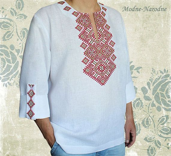 hand embroidered linen men shirt S-0011 ethnic by ModneNarodne
