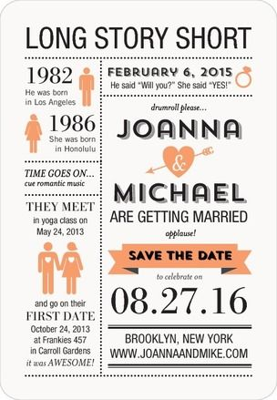 Long Story Short - Save the Date Magnets  These are cute, wish I would have known about them before!