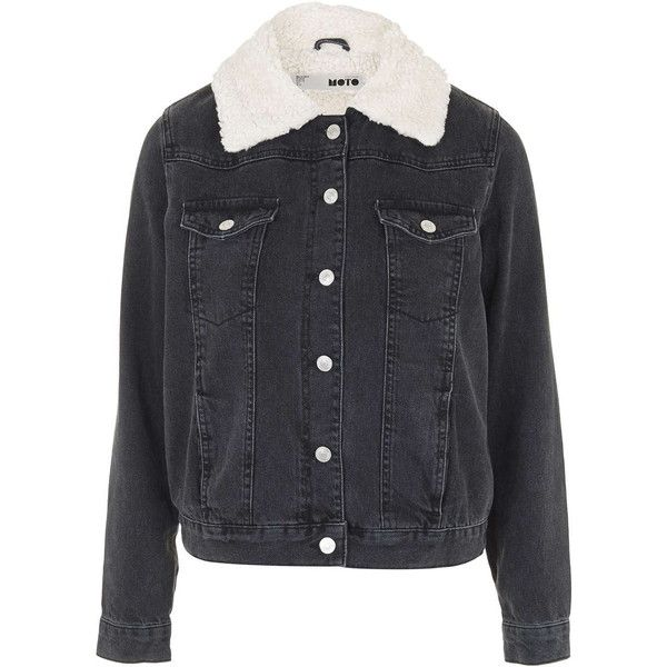 TOPSHOP MOTO Washed Black Borg Western Jacket ($110) ❤ liked on Polyvore featuring outerwear, jackets, coats, topshop, washed black, jean jacket, topshop jacket, black jacket, black cotton jacket and collar jacket