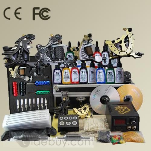 Complete Sets Of Professional Tattoo Kit with 4 Machines & 15 Colors Inks and A Power Supply