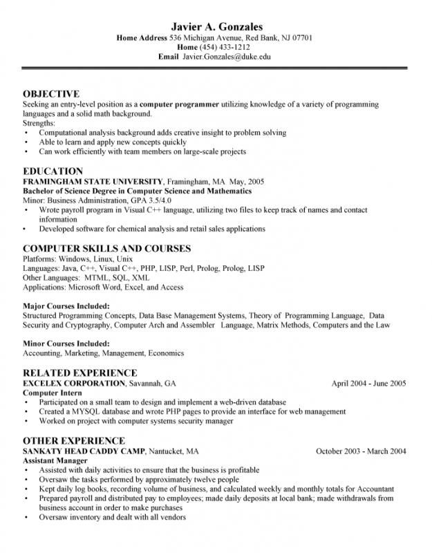 Computer Science Resume Template Check More At Https Nationalgriefawarenessday Com 4472 Computer Resume Objective Examples Science Student Functional Resume