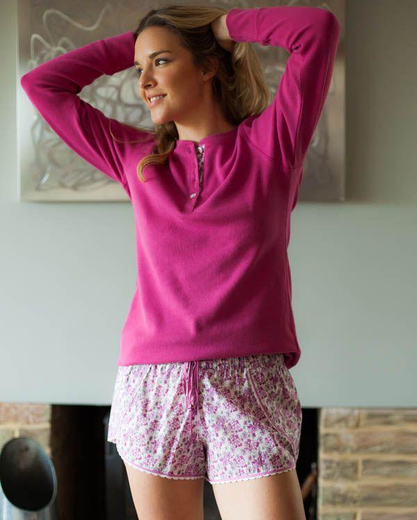 Pearl Dark Pink Long Sleeve Knit Viscose Top and Floral Print Shorty Set