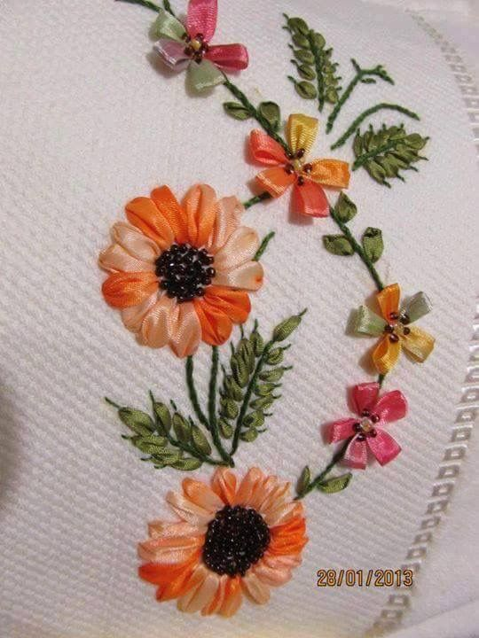 Ribbon embroidery ☆ pinterest