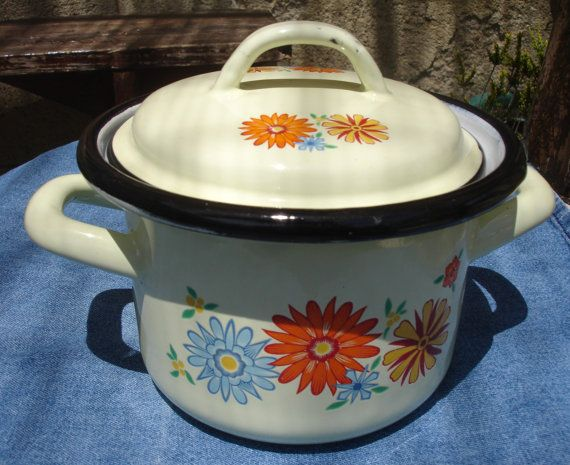 French vintage small enamel pot, small floral pot with lid, cream with orange flowers, French enamelware, 1960s