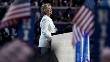 PHILADELPHIA, PA - JULY 28:  Democratic presidential nominee Hillary Clinton acknowledges the crowd as she arrives on stage during the fourth day of the Democratic National Convention at the Wells Fargo Center, July 28, 2016 in Philadelphia, Pennsylvania. Democratic presidential candidate Hillary Clinton received the number of votes needed to secure the party's nomination. An estimated 50,000 people are expected in Philadelphia, including hundreds of protesters and members of the media. T...