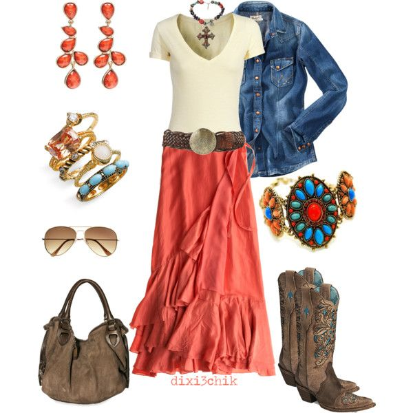 What an awesome southwestern look!Fashion, Cowboy Boots, Style, Jeans Jackets, Clothing, Colors, Country Girls, Long Skirts, Country Outfits