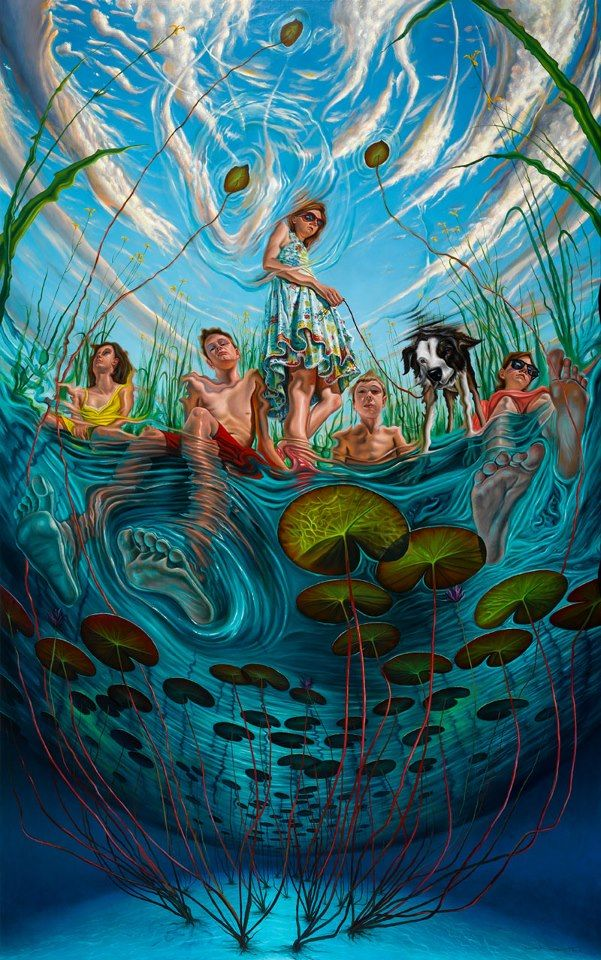 art, illustration, figure, woman, man, child, sitting, front, from below, water, lilly, perspective,  //  Reflections - Rasher