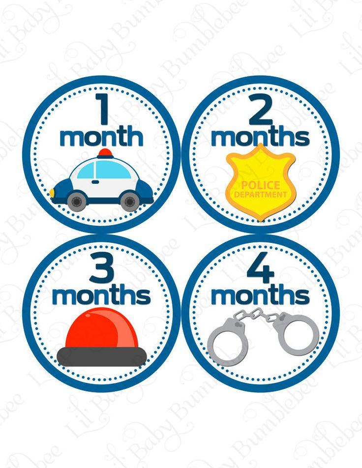 Monthly Onesie Stickers - Jayce - Police Officer Car Siren Handcuffs - Great Baby Shower Gift and Photography Prop Baby Month Stickers. $9.00, via Etsy.
